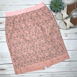 {J. Crew} sz 4 pink lace overlay The Pencil Skirt